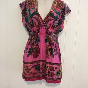 Hale Bob super cute pink floral silk mini dress S.